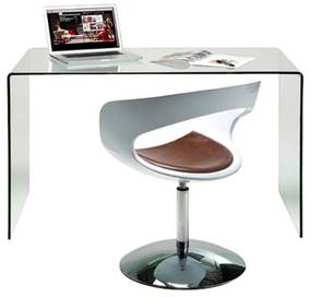 Kare Design Clear Club Bureau Van Gebogen Glas - 125 X 60cm.