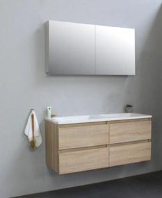 Luuk badmeubel - 120cm - acryl wastafel - zonder kraangaten - eiken - met spiegelkast