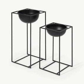 Janelle set van 2 hoge koepelplantenbakken met vierkante standaards, zwart