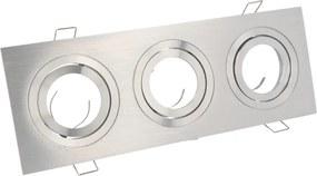 Inbouwspot (Triple), Vierkant, Kantelbaar, Geborsteld Aluminium