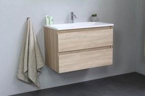 Luuk badmeubel - 80cm - acryl wastafel - 1 kraangat - eiken - zonder spiegel - bouwpakket