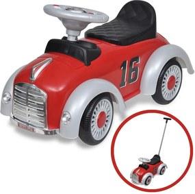 Loopauto retro met duwstang rood