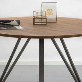 Industriële Ronde Eettafel 'Judy' 120cm, 3D-eikenlook brownwash