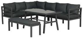 Bari lounge diningset - 4 delig - donker grijs