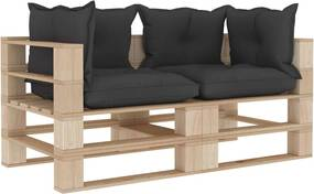 Tuinbank 2-zits met zwarte kussens pallet hout