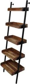 HSM Collection decoratieve ladder Hayo - zwart/naturel - 60x35x180 cm - Leen Bakker