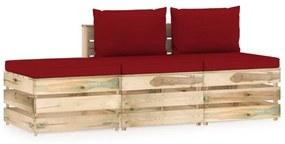 3-delige Loungeset met kussens groen geïmpregneerd hout