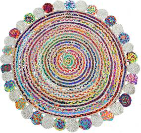 Bakero   Vloerkleed Ruby Hoogpolig lengte 120 cm x breedte 120 cm x hoogte 1,00 cm multicolour vloerkleden jute vloerkleden   NADUVI outlet