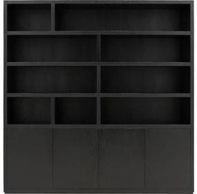 Goossens Buffetkast Barcelona, 4 deuren 9 open vakken, zwart eiken, 208 x 212 x 45 cm, stijlvol landelijk