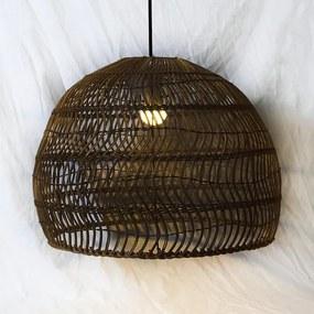Rotan / Rieten Hanglamp, Handgemaakt, Zwart, ⌀60 cm