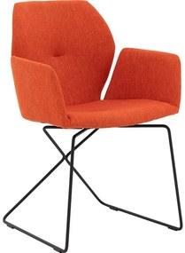 Goossens Eetkamerstoel Manzini oranje stof met arm, modern design