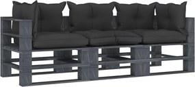 Tuinbank 3-zits met zwarte kussens pallet hout