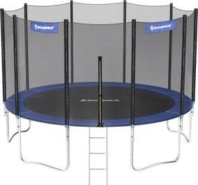 Nancy's Trampoline Met Veiligheidsnet - Trampolines - Ladder - Tuin - Zwart/Blauw - Ø 427