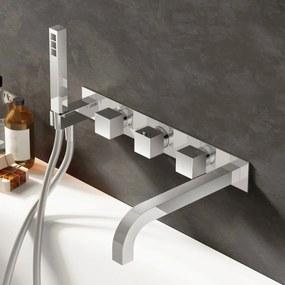 Badkraan Hotbath Bloke Inbouw Thermostatisch Vierkant 22.5cm Uitloop Geborsteld Nikkel met Handdoucheset 3 Greeps