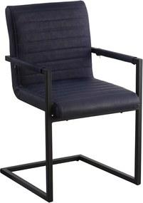 Viverne | Eetkamerstoel Kubiko - totaal: breedte 54 cm x diepte 57 cm x hoogte blauw eetkamerstoelen pu leer, metaal stoelen | NADUVI outlet