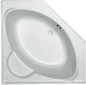 Contour compact hoekbad acryl vijfhoekig 125x125x42 cm met poten, wit