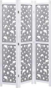 Kamerscherm met 3 panelen 105x165 cm massief hout grijs