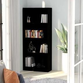 Boekenkast met 4 schappen 60x24x142 cm spaanplaat zwart