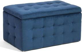 Hocker fluweel donkerblauw MICHIGAN