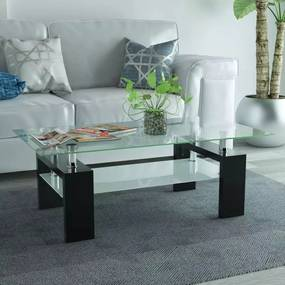 Hoogglans salontafel met legplank 110x60x40 cm zwart