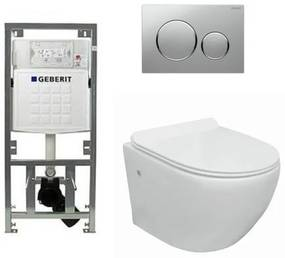Go toiletset compact Rimless inclusief UP320 toiletreservoir met softclose en quickrelease toiletzitting met sigma20 bedieningsplaat mat chroom