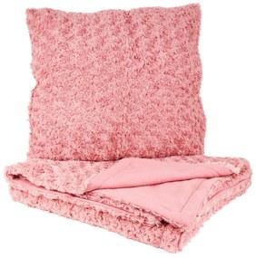 Kussen en plaid set - roze