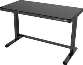 Elektrisch verstelbaar bureau / thuiswerkplek - 120x60 cm - Glas zwart