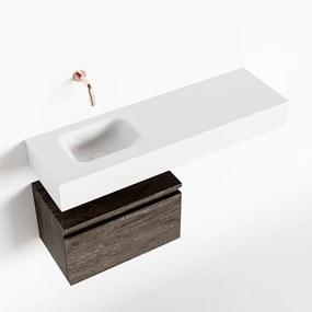 MONDIAZ ANDOR 50cm toiletmeubel dark brown. LEX 100cm wastafel talc links geen kraangat
