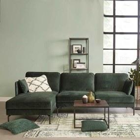 Dimehouse | Hoekbank Peppin links velvet zithoogte 46 cmzitdiepte 59 cmhoogte 85 cmdikte groen hoekbanken velvet, metaal | NADUVI outlet