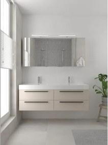 Bruynzeel Bando badmeubelset 150x45cm 2 kraangaten 2 wasbakken 4 lades met spiegelkast met softclose Composiet kasjmier grijs 123102002