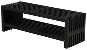 Lattenbank vuren met plank | Rustik Design 138 cm zwart geverfd
