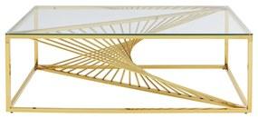 Kare Design Laser Gold Design Salontafel Met Glas Goud - 120 X 45cm.