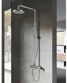 Hotbath SDS8 Get Together thermostatische douche opbouwset inclusief 2-wegs omstel met staafmodel handdouche met 30cm ronde hoofddouche Nikkel Geborsteld SDS8GN5