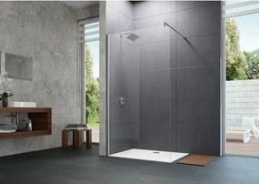 Huppe Design pure zijwand 80x200cm met dwarssteun matzilver helder glas 8P1105087321