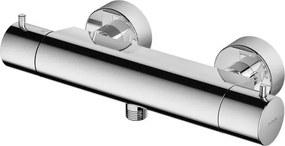 Douchekraan Hotbath Buddy 15cm Hartafstand Thermostatisch Opbouw Rond Geborsteld Koper 2 Greeps