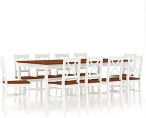 11-delige Eethoek grenenhout wit en bruin