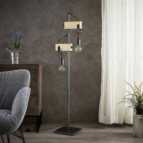Asya vloerlamp, hout, zwart - lampen-24