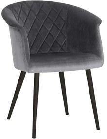 Nancy's Kittitas Eetkamerstoel - Moderne en Elegante Vrijetijdsstoel - Eetkamerstoelen - Metalen Poten - Grijs - 61 x 55 x 77 cm (L x B x H)