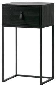 Woood Zola Zwart Nachtkastje Metaal Hout - 40x35x74cm.