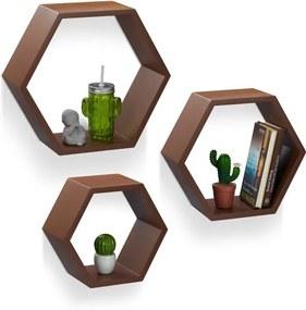 Wandboard zeskant - Set van 3 stuks - zeshoekig - wandplank MDF - wandbox hout bruin