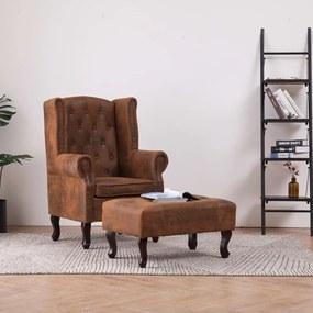 Fauteuil en voetenbank Chesterfield-stijl kunstsuède bruin