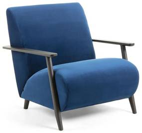 Kave Home Meghan Velvet Fauteuil Donkerblauw