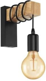 EGLO wandlamp Townshend - eikenhout/zwart - Leen Bakker