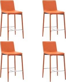 Barstoelen 4 st kunstleer oranje