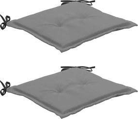 Tuinstoelkussens 2 st 50x50x3 cm zwart en grijs