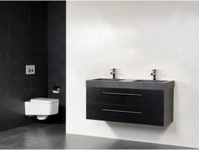 Saniclass Exclusive line Grey Stone 120 badmeubel black wood 2 laden 2 kraangaten zonder spiegel SW21694