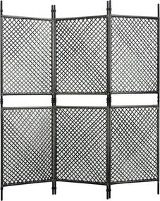 Kamerscherm met 3 panelen 180x200 cm poly rattan antraciet