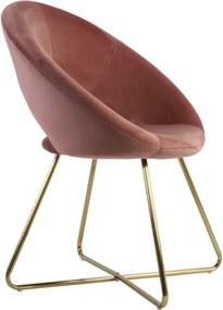 Stoel 72x59x84 cm CHARLIE velvet oud roze+goud