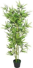Kunst bamboe plant met pot 120 cm groen