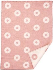 Wiegdeken wol roze rings